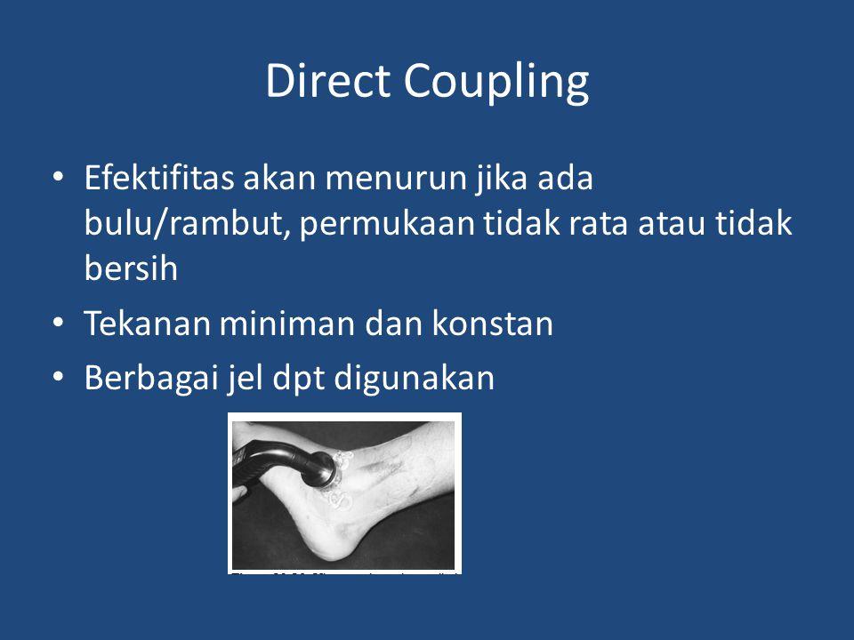 Direct Coupling Efektifitas akan menurun jika ada bulu/rambut, permukaan tidak rata atau tidak bersih Tekanan miniman dan konstan Berbagai jel dpt dig