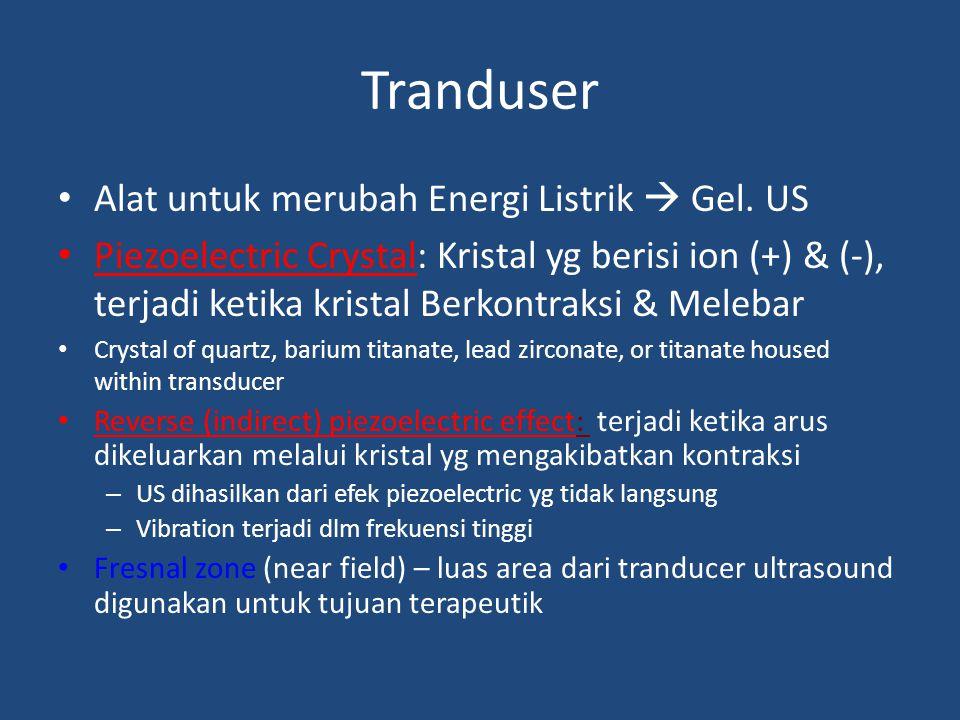 Tranduser Alat untuk merubah Energi Listrik  Gel. US Piezoelectric Crystal: Kristal yg berisi ion (+) & (-), terjadi ketika kristal Berkontraksi & Me