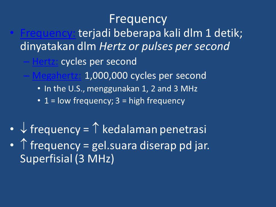 Duty Cycle Persentase waktu US sebenarnya dipancarkan dari kepala tranducer Rasio antara panjang pulsa & interval pulsa dihantarkan dalam modus denyutan(kontraksi) – Pulse length = jumlah waktu dari muatan nol awal untuk kembali ke muatan nol kembali – Pulse interval – jumlah waktu antara pulsa US – Duty cycle = pulse length/(pulse length + pulse interval) x 100 – 100% duty cycle menunjukan output US – Low output produces nonthermal effects (20%)