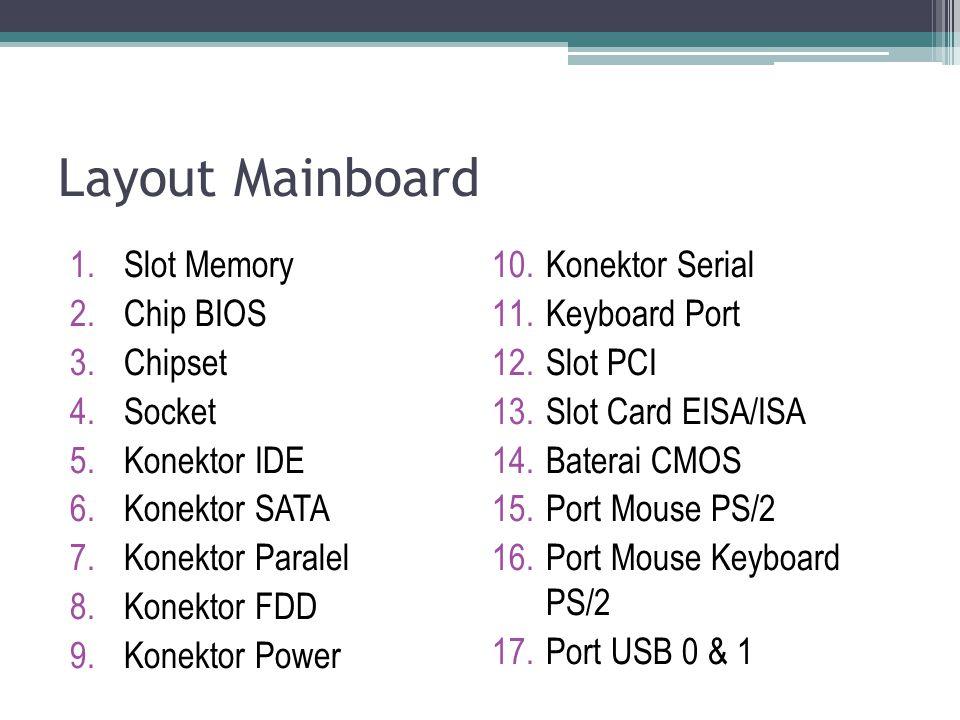 Layout Mainboard 1.Slot Memory 2.Chip BIOS 3.Chipset 4.Socket 5.Konektor IDE 6.Konektor SATA 7.Konektor Paralel 8.Konektor FDD 9.Konektor Power 10.Kon