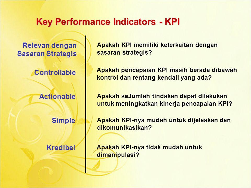Key Performance Indicators - KPI Relevan dengan Sasaran Strategis Apakah KPI memiliki keterkaitan dengan sasaran strategis? Controllable Apakah pencap