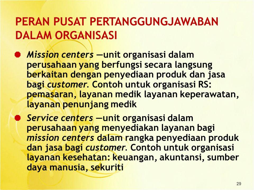 29 PERAN PUSAT PERTANGGUNGJAWABAN DALAM ORGANISASI  Mission centers —unit organisasi dalam perusahaan yang berfungsi secara langsung berkaitan dengan