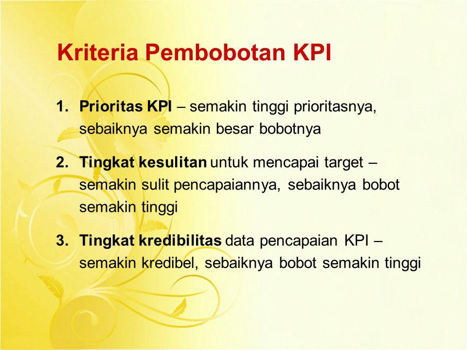 Kriteria Pembobotan KPI 1.Prioritas KPI – semakin tinggi prioritasnya, sebaiknya semakin besar bobotnya 2.Tingkat kesulitan untuk mencapai target – se