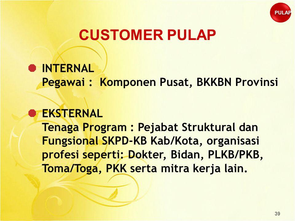 39 CUSTOMER PULAP  INTERNAL Pegawai : Komponen Pusat, BKKBN Provinsi  EKSTERNAL Tenaga Program : Pejabat Struktural dan Fungsional SKPD-KB Kab/Kota,