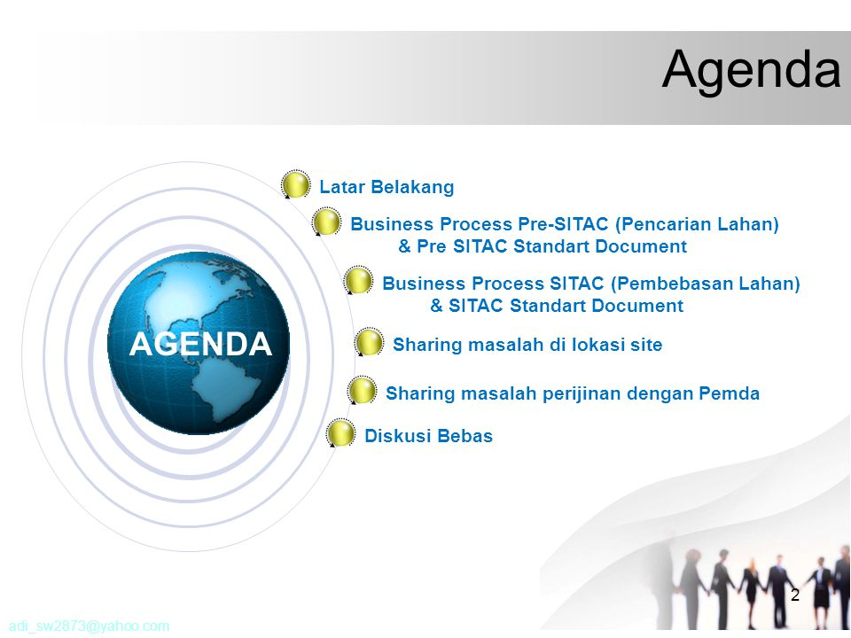 2 Agenda AGENDA Latar Belakang Business Process Pre-SITAC (Pencarian Lahan) & Pre SITAC Standart Document Business Process SITAC (Pembebasan Lahan) &
