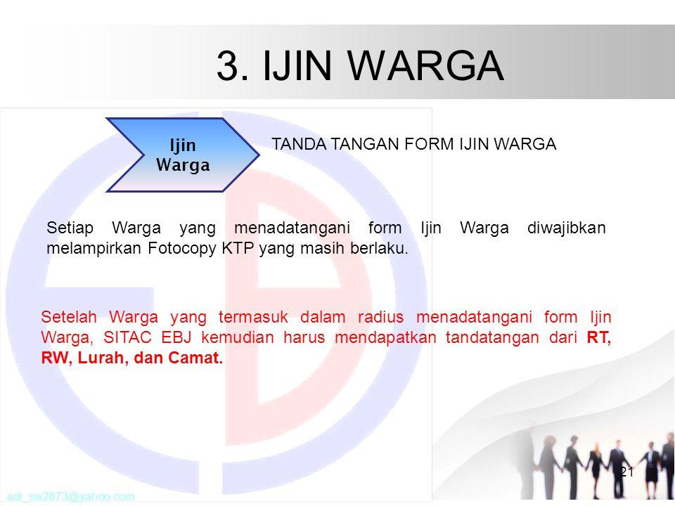 3. IJIN WARGA 21 Ijin Warga TANDA TANGAN FORM IJIN WARGA Setelah Warga yang termasuk dalam radius menadatangani form Ijin Warga, SITAC EBJ kemudian ha