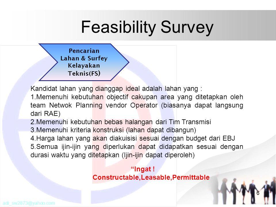 Feasibility Survey 6 Kandidat lahan yang dianggap ideal adalah lahan yang : 1.Memenuhi kebutuhan objectif cakupan area yang ditetapkan oleh team Netwo