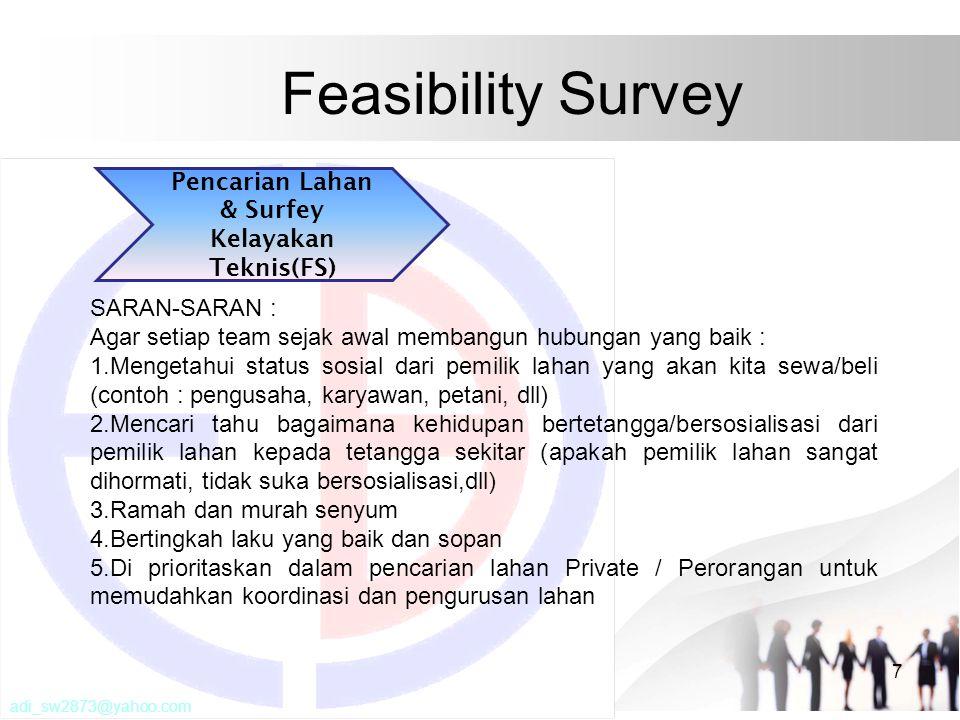 Feasibility Survey 7 SARAN-SARAN : Agar setiap team sejak awal membangun hubungan yang baik : 1.Mengetahui status sosial dari pemilik lahan yang akan