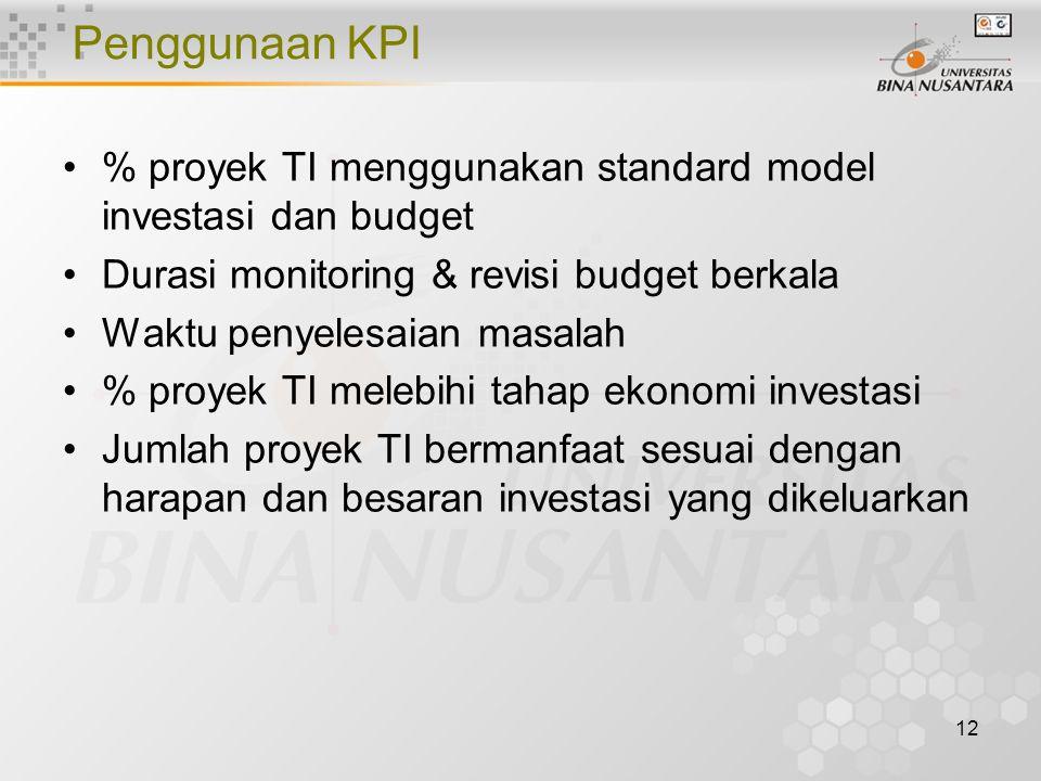 12 Penggunaan KPI % proyek TI menggunakan standard model investasi dan budget Durasi monitoring & revisi budget berkala Waktu penyelesaian masalah % proyek TI melebihi tahap ekonomi investasi Jumlah proyek TI bermanfaat sesuai dengan harapan dan besaran investasi yang dikeluarkan
