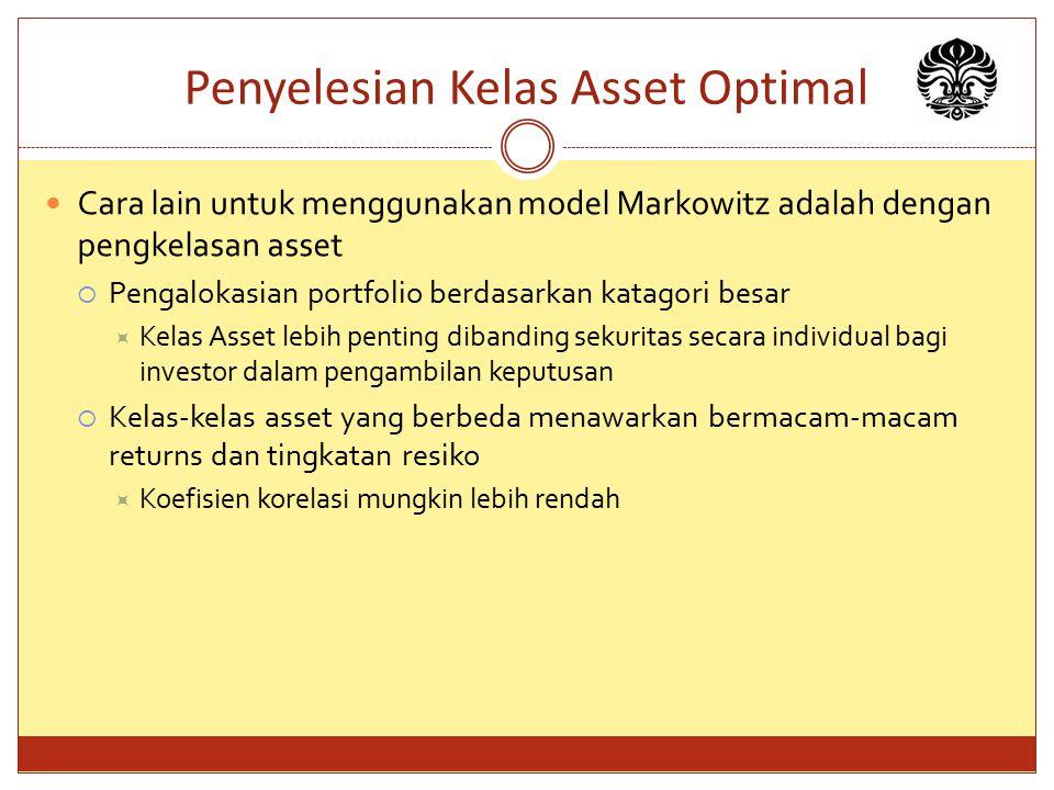 Penyelesian Kelas Asset Optimal Cara lain untuk menggunakan model Markowitz adalah dengan pengkelasan asset  Pengalokasian portfolio berdasarkan kata