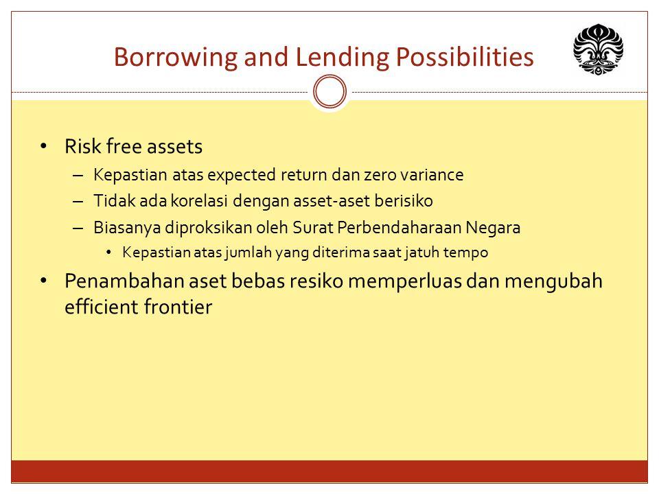 Borrowing and Lending Possibilities Risk free assets – Kepastian atas expected return dan zero variance – Tidak ada korelasi dengan asset-aset berisik