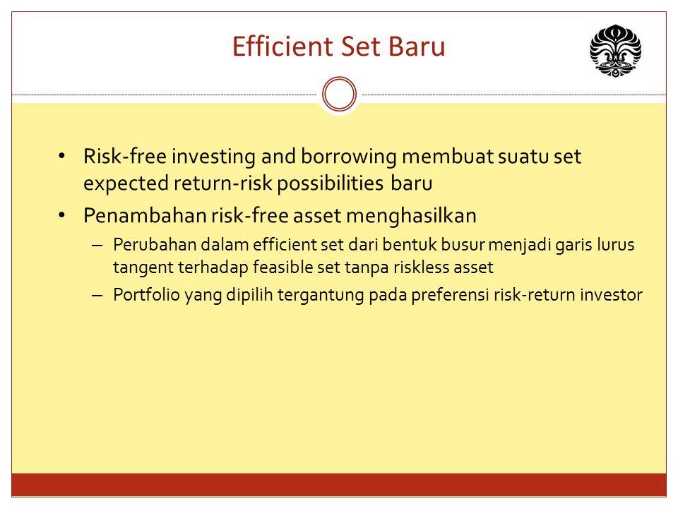 Efficient Set Baru Risk-free investing and borrowing membuat suatu set expected return-risk possibilities baru Penambahan risk-free asset menghasilkan