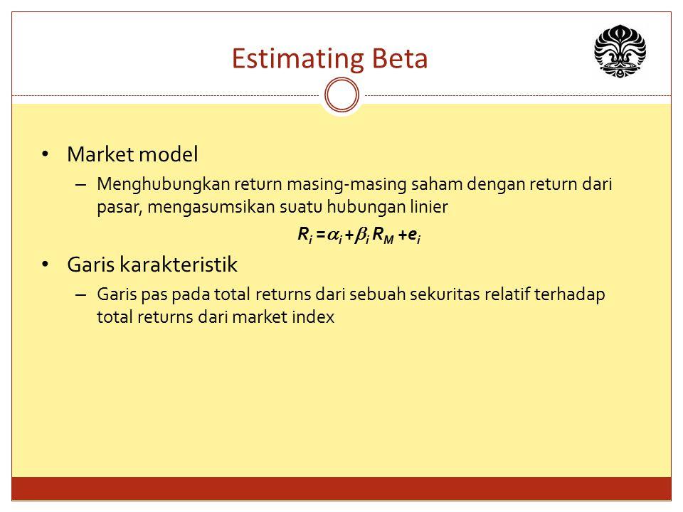 Estimating Beta Market model – Menghubungkan return masing-masing saham dengan return dari pasar, mengasumsikan suatu hubungan linier R i =  i +  i