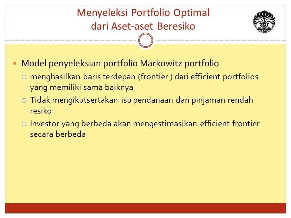 Menyeleksi Portfolio Optimal dari Aset-aset Beresiko Model penyeleksian portfolio Markowitz portfolio  menghasilkan baris terdepan (frontier ) dari e