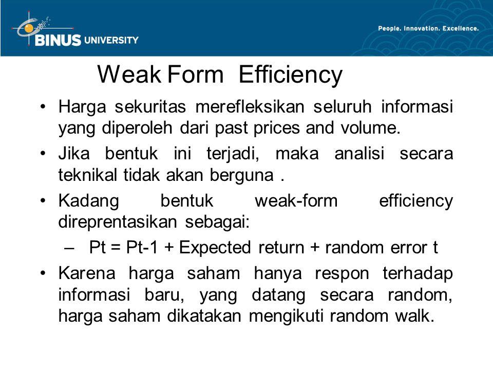 Weak Form Efficiency Harga sekuritas merefleksikan seluruh informasi yang diperoleh dari past prices and volume.