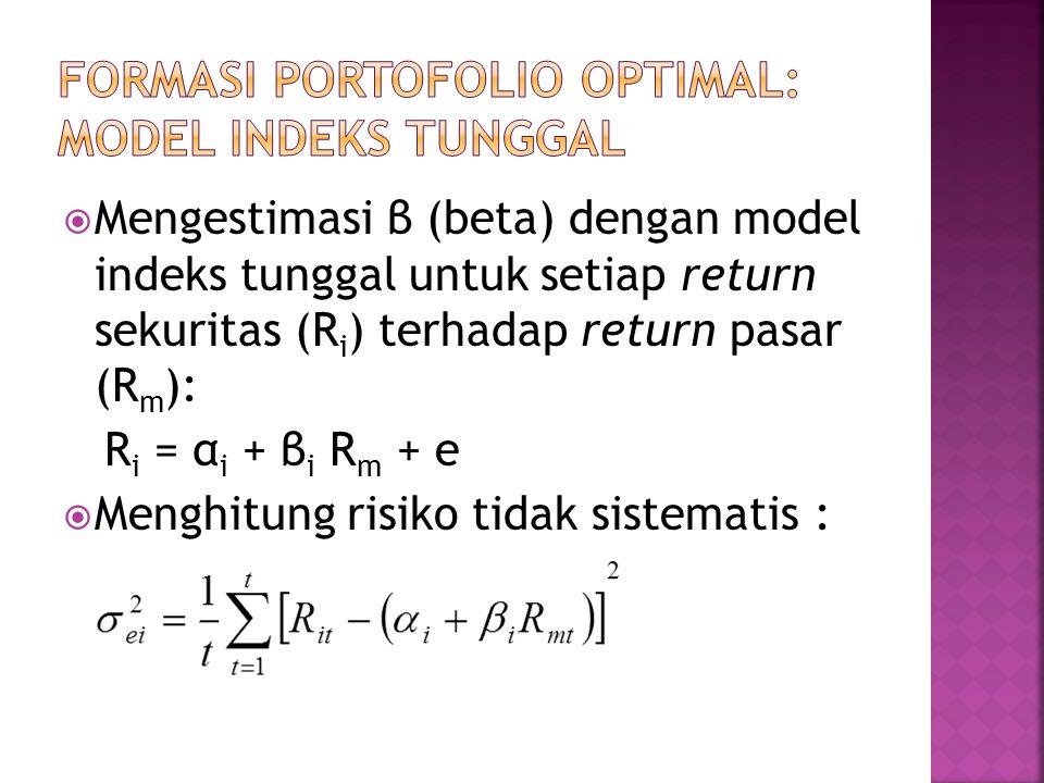  Mengestimasi β (beta) dengan model indeks tunggal untuk setiap return sekuritas (R i ) terhadap return pasar (R m ): R i = α i + β i R m + e  Mengh