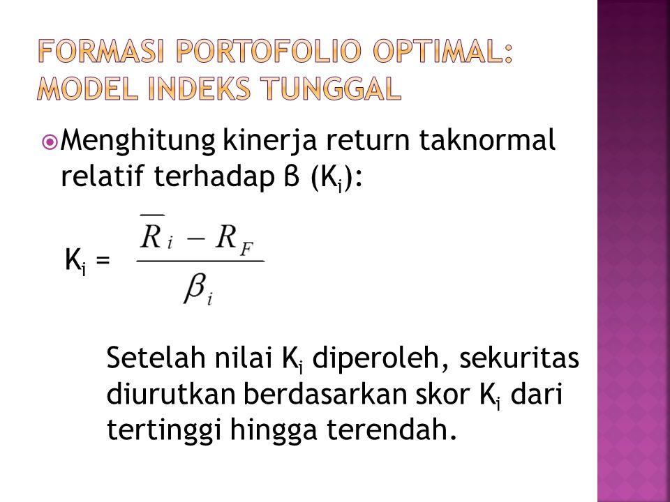  Menghitung kinerja return taknormal relatif terhadap β (K i ): K i = Setelah nilai K i diperoleh, sekuritas diurutkan berdasarkan skor K i dari tert