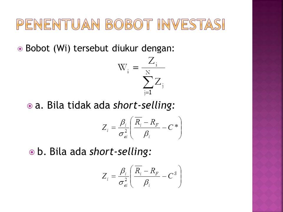  Bobot (Wi) tersebut diukur dengan:  a. Bila tidak ada short-selling:  b. Bila ada short-selling:
