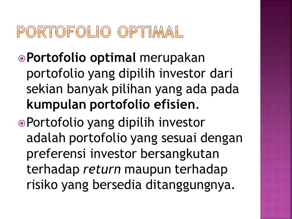  Portofolio optimal merupakan portofolio yang dipilih investor dari sekian banyak pilihan yang ada pada kumpulan portofolio efisien.  Portofolio yan