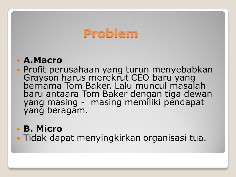 Problem A.Macro Profit perusahaan yang turun menyebabkan Grayson harus merekrut CEO baru yang bernama Tom Baker. Lalu muncul masalah baru antaara Tom