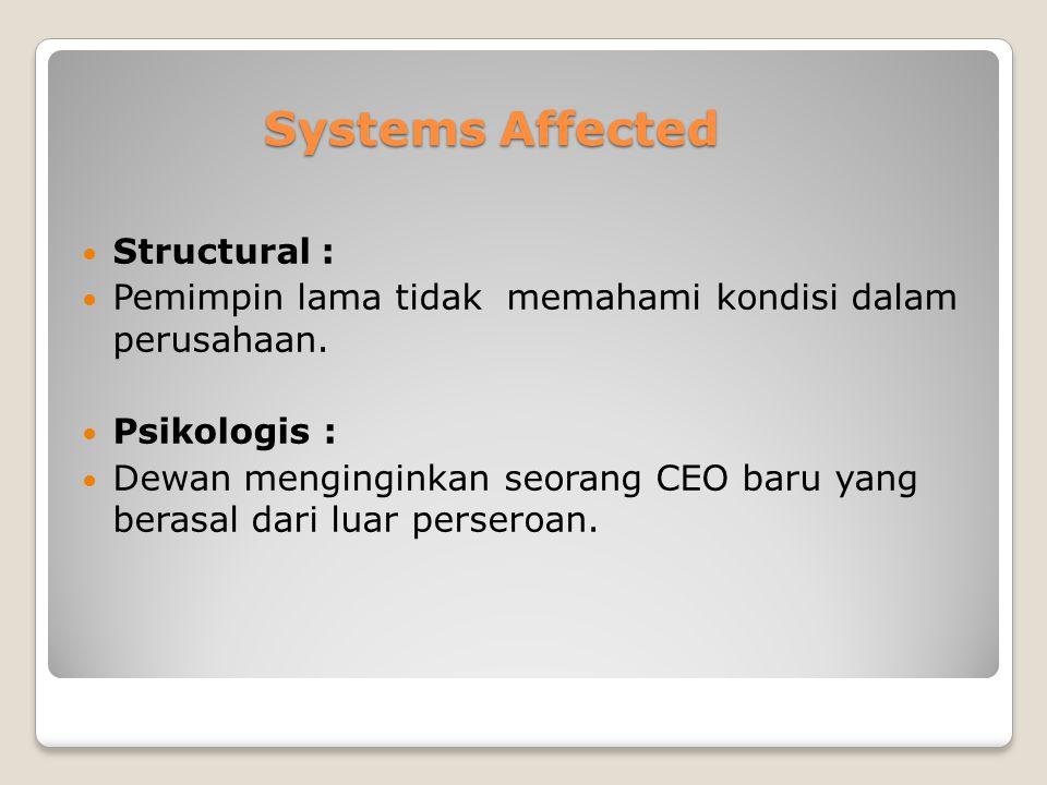 Systems Affected Structural : Pemimpin lama tidak memahami kondisi dalam perusahaan. Psikologis : Dewan menginginkan seorang CEO baru yang berasal dar