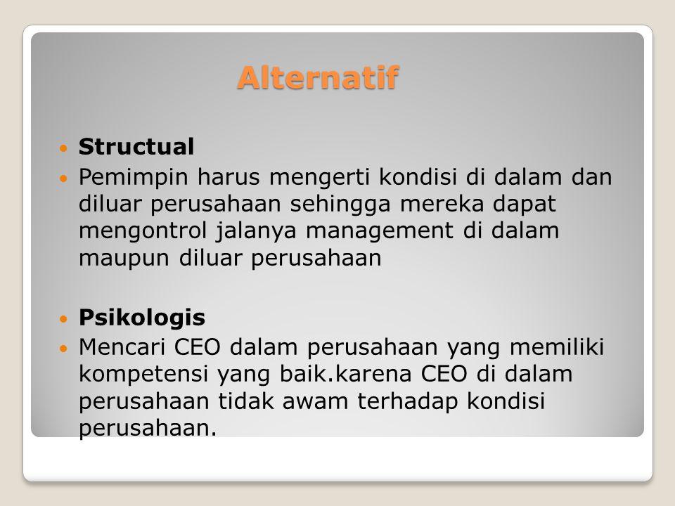 Alternatif Alternatif Structual Pemimpin harus mengerti kondisi di dalam dan diluar perusahaan sehingga mereka dapat mengontrol jalanya management di