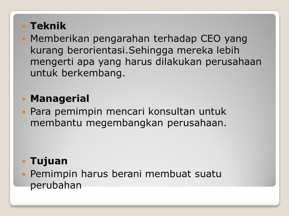 Teknik Memberikan pengarahan terhadap CEO yang kurang berorientasi.Sehingga mereka lebih mengerti apa yang harus dilakukan perusahaan untuk berkembang