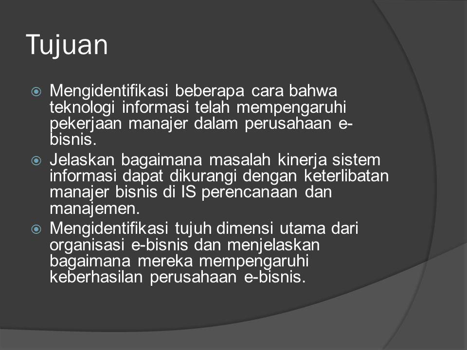 Tujuan  Mengidentifikasi masing-masing dari tiga komponen manajemen teknologi e- business dan menggunakan contoh untuk menggambarkan bagaimana dapat diterapkan di perusahaan e- bisnis.