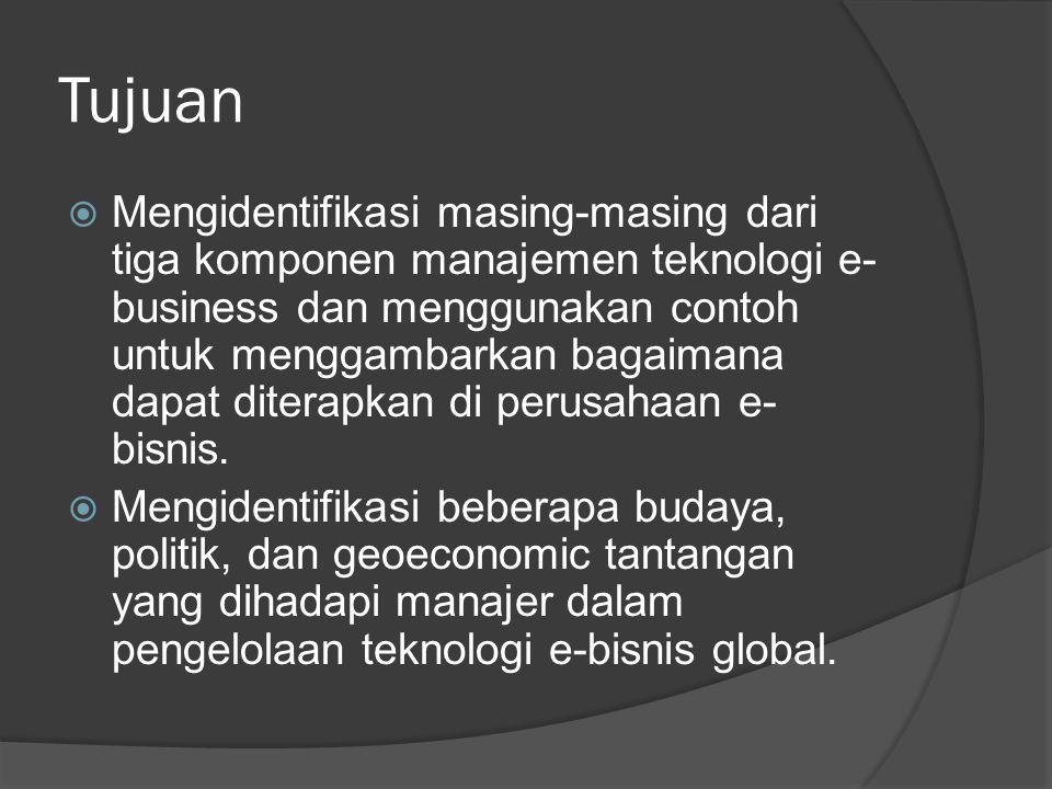 Tujuan  Jelaskan efek pada strategi e-bisnis global dari kecenderungan menuju strategi bisnis transnasional oleh organisasi bisnis internasional.