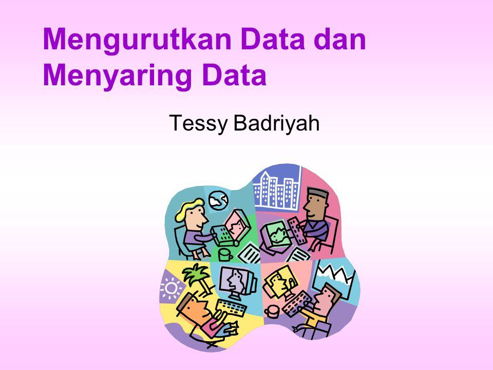 TUJUAN Menjelaskan cara mengurutkan data Menjelaskan cara menyaring data