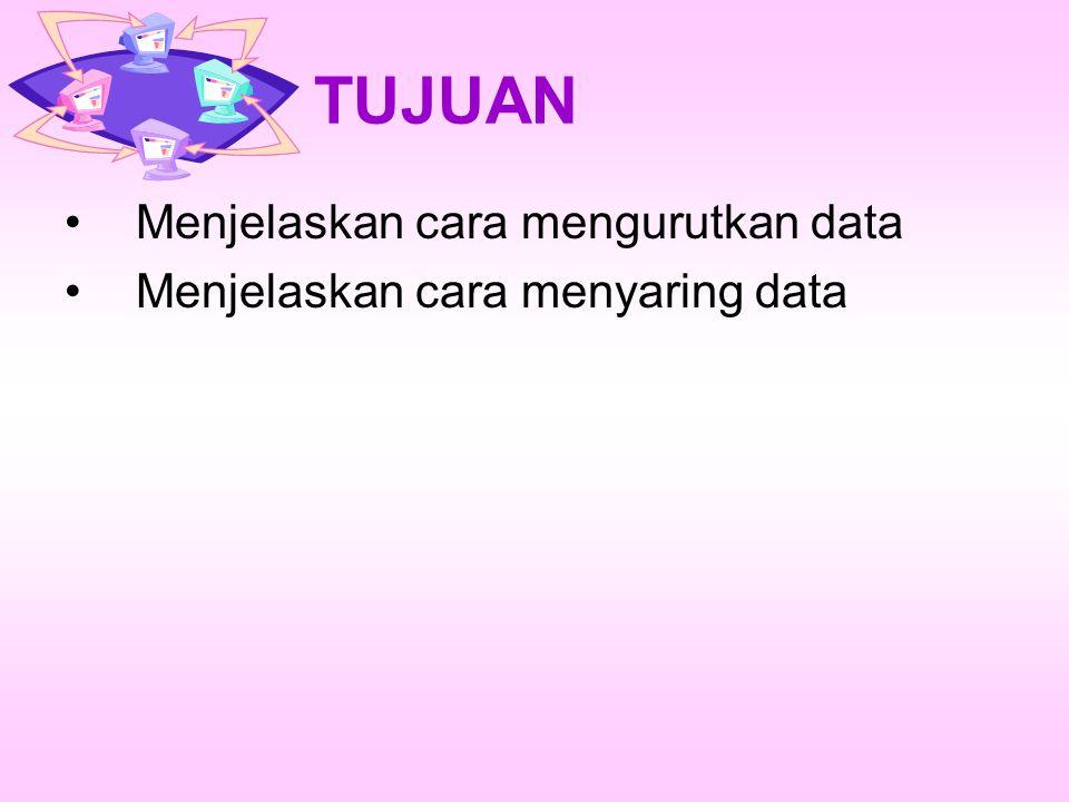Mengurutkan Data Mengurutkan Data ada dua bentuk : –Ascending: Mengurutkan menaik (misal A-Z atau 0-1000 dst) –Descending: Mengurutkan menurun(Misal Z- A atau 1000-0 dst).
