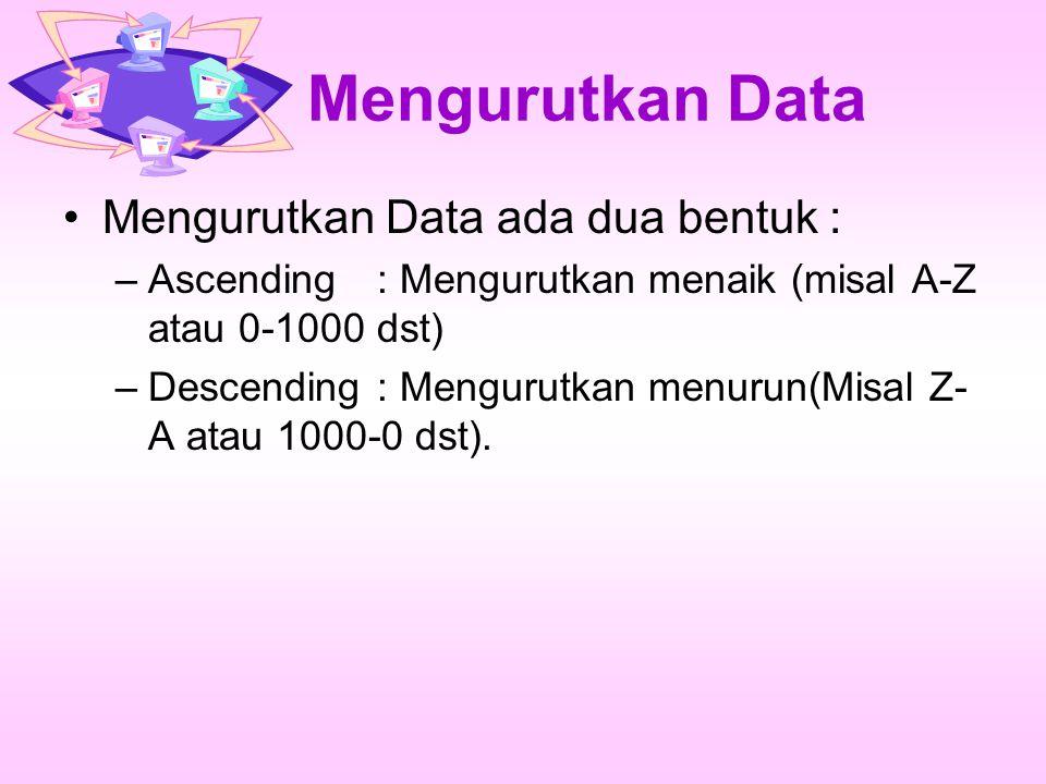 Mengurutkan Data Mengurutkan Data ada dua bentuk : –Ascending: Mengurutkan menaik (misal A-Z atau 0-1000 dst) –Descending: Mengurutkan menurun(Misal Z