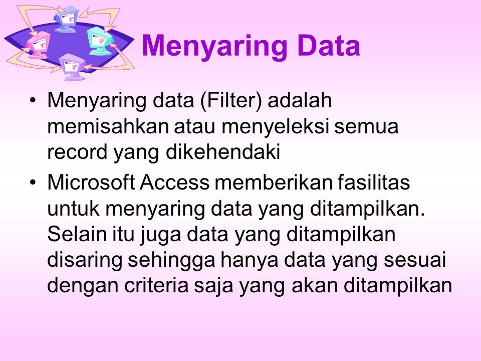 Mengurutkan Data pada Microsoft Access Buat database baru dengan nama RentalVCD Buat tabel VCD dengan struktur sebagai berikut :