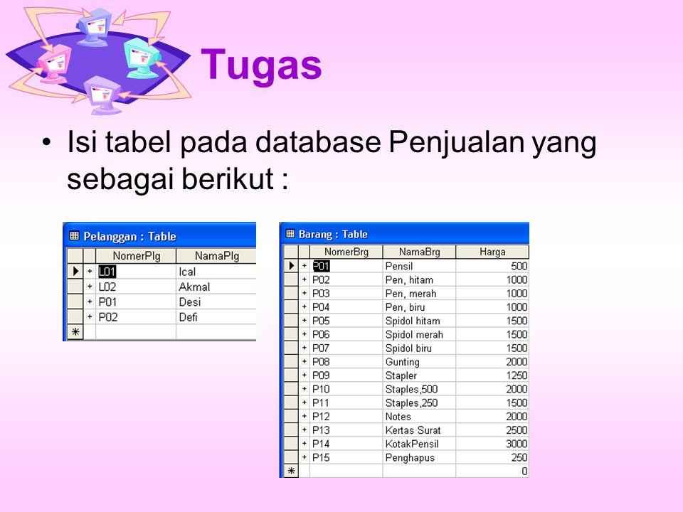 Tugas Urutkan data pada tabel Barang secara urut menurun Dengan menggunakan menu yang disediakan oleh Microsoft Access, saringlah data pada tabel barang sehingga data yang ditampilkan hanya untuk barang yang harganya lebih dari 1500