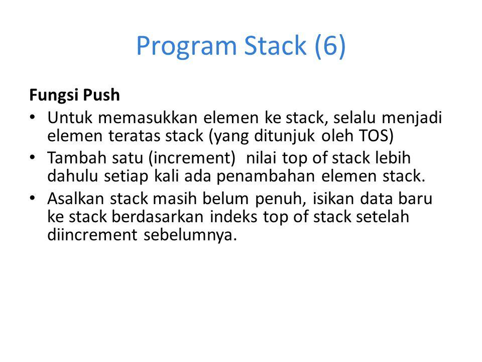 Program Stack (6) Fungsi Push Untuk memasukkan elemen ke stack, selalu menjadi elemen teratas stack (yang ditunjuk oleh TOS) Tambah satu (increment) n