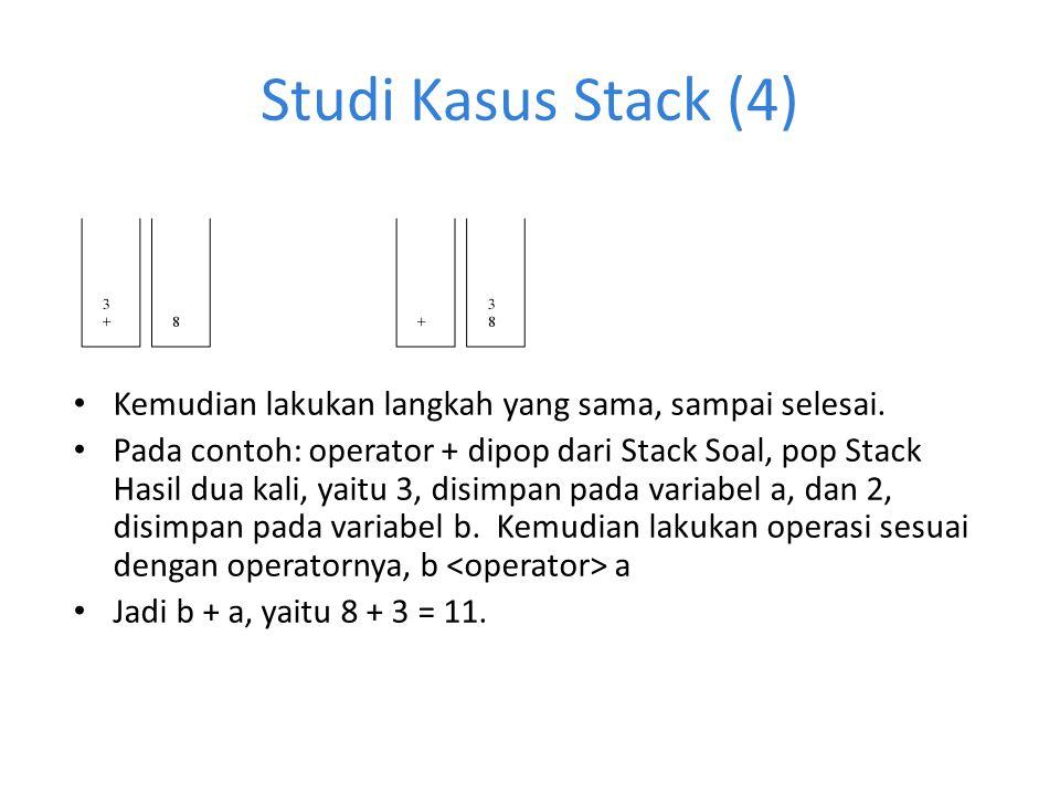 Studi Kasus Stack (4) Kemudian lakukan langkah yang sama, sampai selesai. Pada contoh: operator + dipop dari Stack Soal, pop Stack Hasil dua kali, yai
