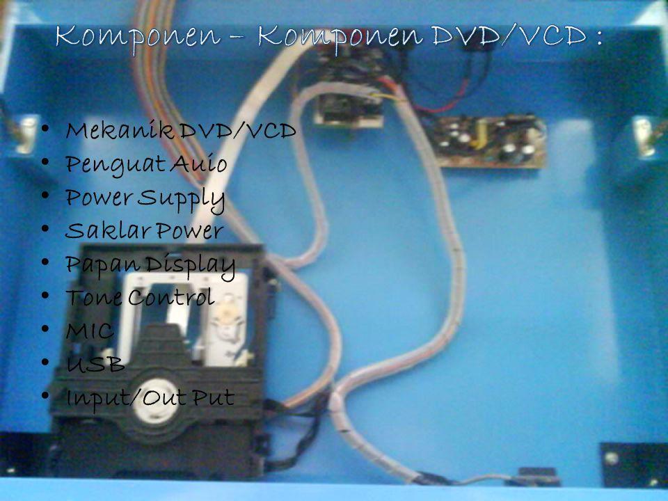 Mekanik DVD/VCD Penguat Auio Power Supply Saklar Power Papan Display Tone Control MIC USB Input/Out Put