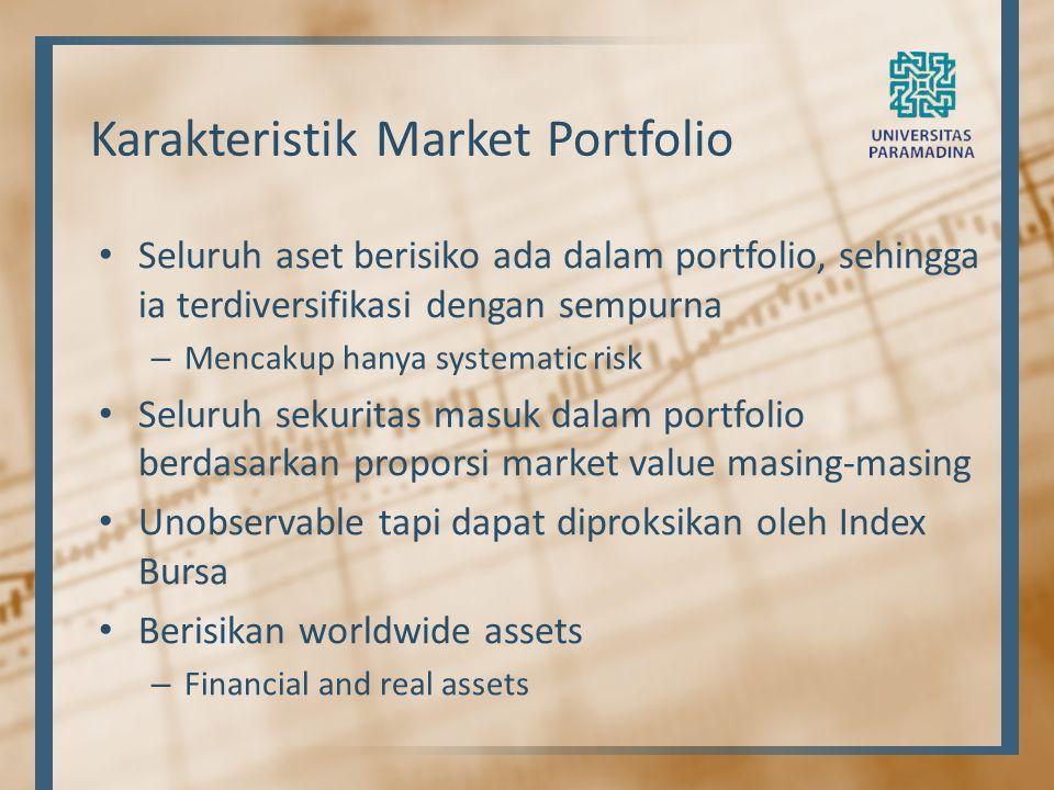 Karakteristik Market Portfolio Seluruh aset berisiko ada dalam portfolio, sehingga ia terdiversifikasi dengan sempurna – Mencakup hanya systematic ris