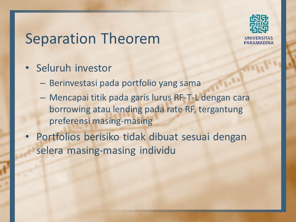 Separation Theorem Seluruh investor – Berinvestasi pada portfolio yang sama – Mencapai titik pada garis lurus RF-T-L dengan cara borrowing atau lendin