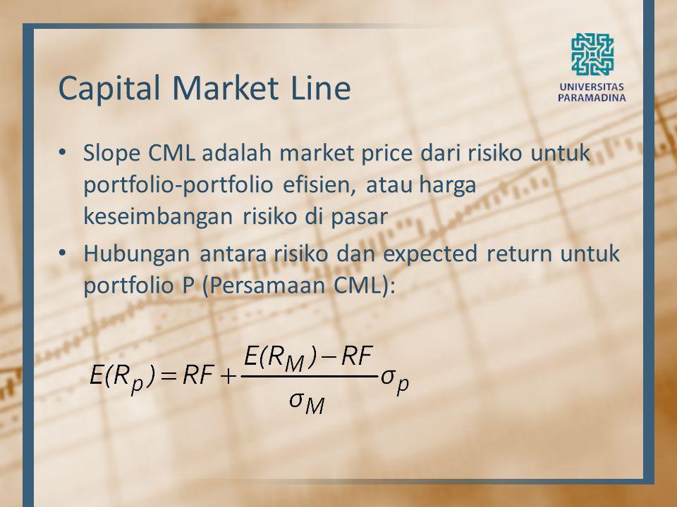 Capital Market Line Slope CML adalah market price dari risiko untuk portfolio-portfolio efisien, atau harga keseimbangan risiko di pasar Hubungan anta