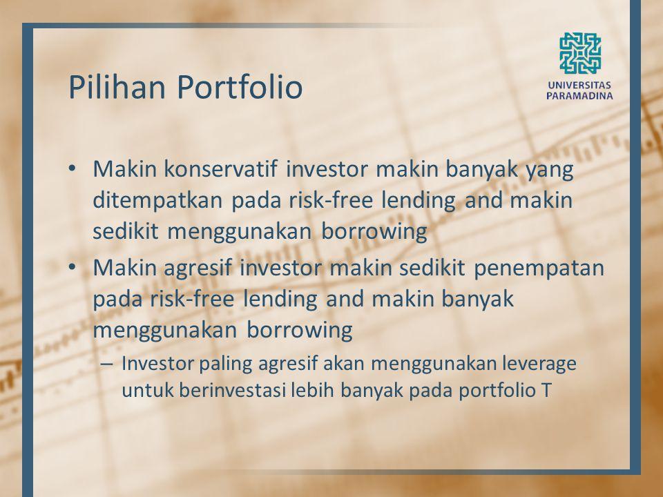 Pilihan Portfolio Makin konservatif investor makin banyak yang ditempatkan pada risk-free lending and makin sedikit menggunakan borrowing Makin agresi