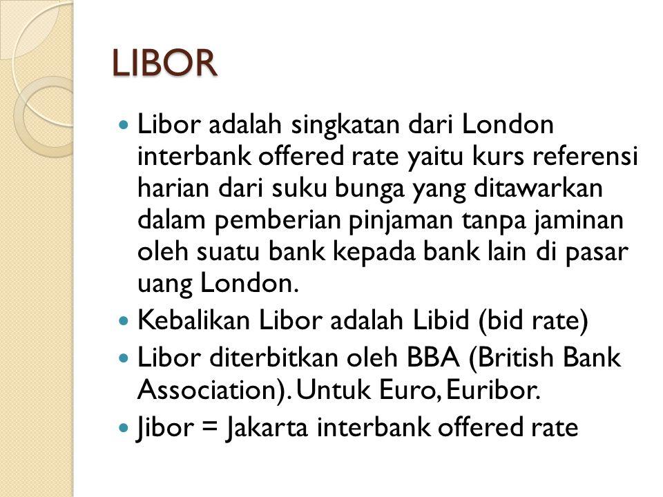 LIBOR Libor adalah singkatan dari London interbank offered rate yaitu kurs referensi harian dari suku bunga yang ditawarkan dalam pemberian pinjaman t