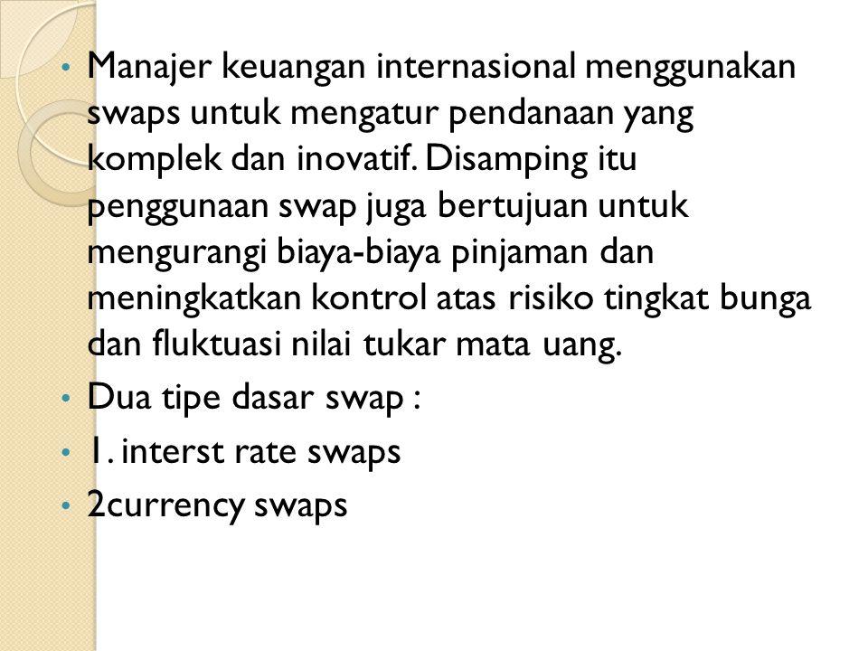 Manajer keuangan internasional menggunakan swaps untuk mengatur pendanaan yang komplek dan inovatif. Disamping itu penggunaan swap juga bertujuan untu