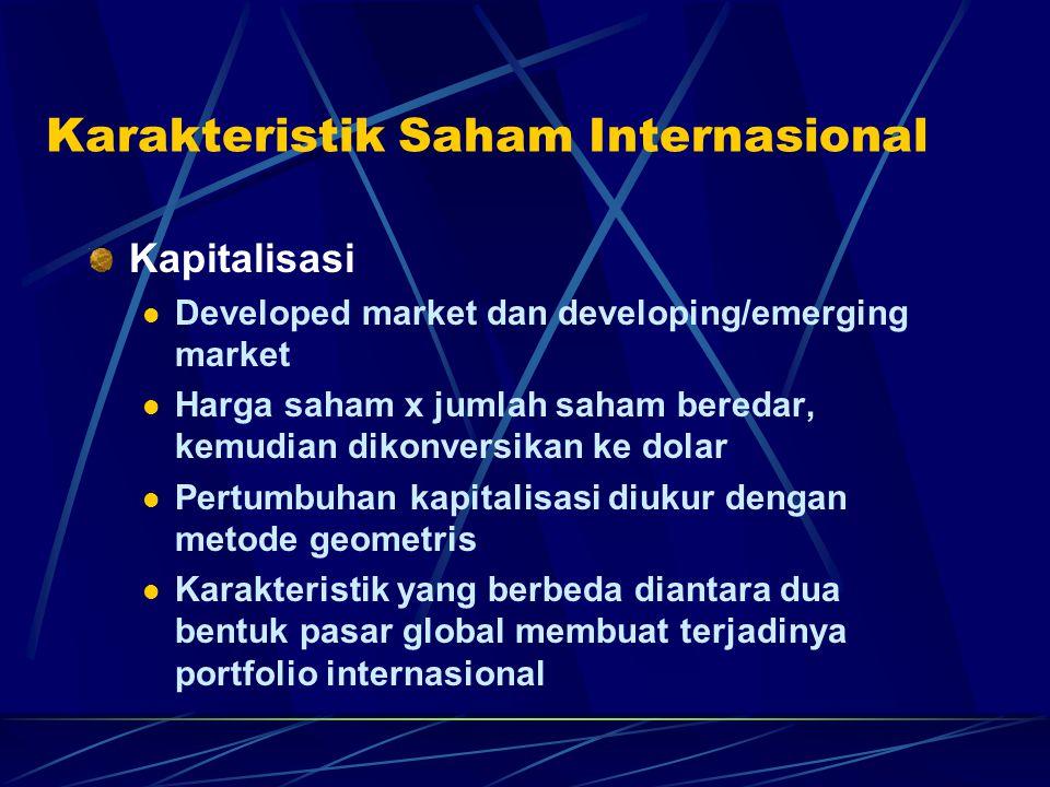 Karakteristik Saham Internasional Kapitalisasi Developed market dan developing/emerging market Harga saham x jumlah saham beredar, kemudian dikonversi