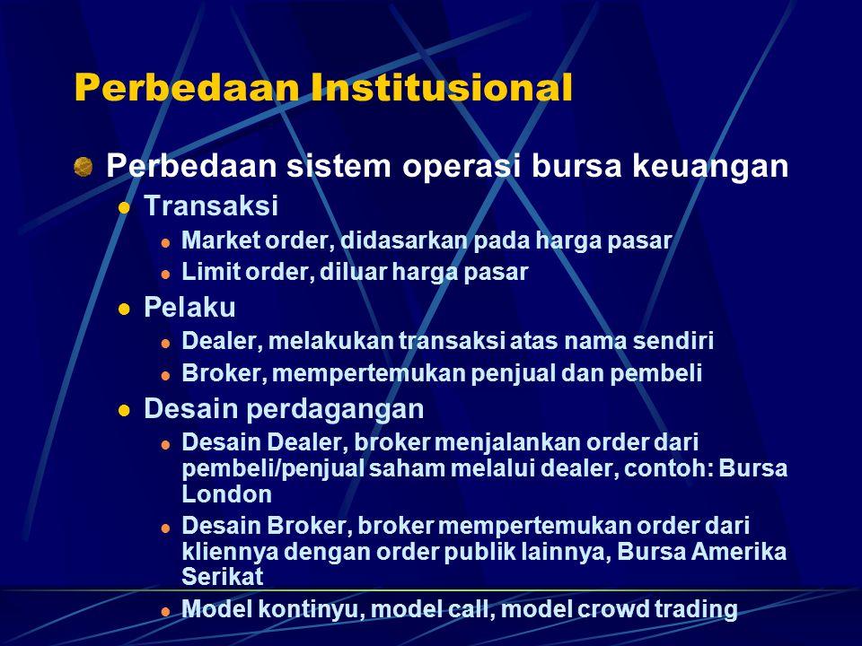 Perbedaan Institusional Perbedaan sistem operasi bursa keuangan Transaksi Market order, didasarkan pada harga pasar Limit order, diluar harga pasar Pe