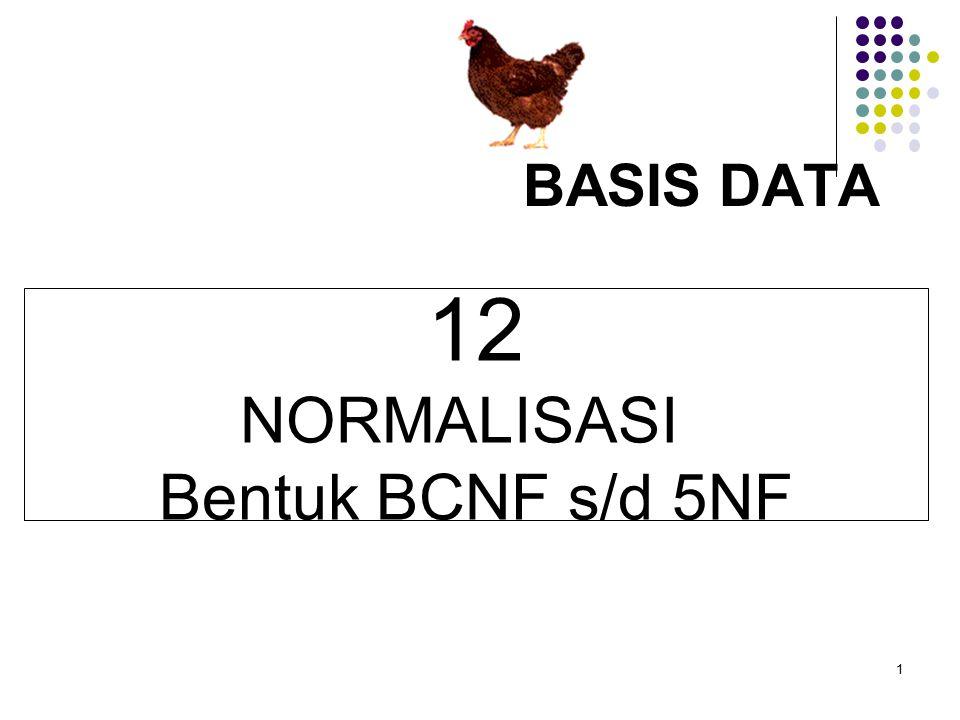 1 BASIS DATA 12 NORMALISASI Bentuk BCNF s/d 5NF