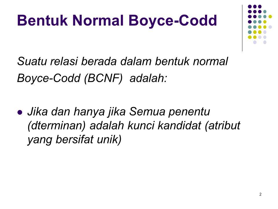 Bentuk Normal Boyce-Codd Suatu relasi berada dalam bentuk normal Boyce-Codd (BCNF) adalah: Jika dan hanya jika Semua penentu (dterminan) adalah kunci