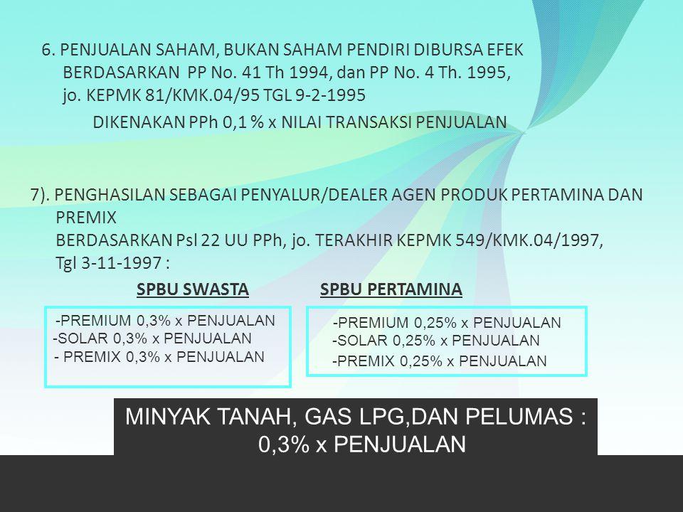 6. PENJUALAN SAHAM, BUKAN SAHAM PENDIRI DIBURSA EFEK BERDASARKAN PP No. 41 Th 1994, dan PP No. 4 Th. 1995, jo. KEPMK 81/KMK.04/95 TGL 9-2-1995 DIKENAK