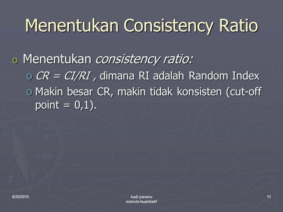 4/20/2015hadi paramu metode kuantitatif 11 Menentukan Consistency Ratio o Menentukan consistency ratio: oCR = CI/RI, dimana RI adalah Random Index oMa
