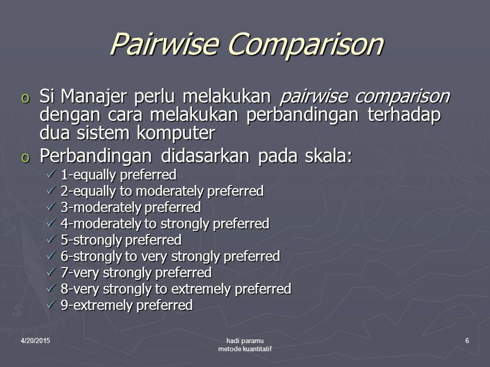 4/20/2015hadi paramu metode kuantitatif 6 Pairwise Comparison o Si Manajer perlu melakukan pairwise comparison dengan cara melakukan perbandingan terh